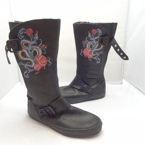 Vans Black Leather Tattoo Boot Wo. Size 11 Men 9